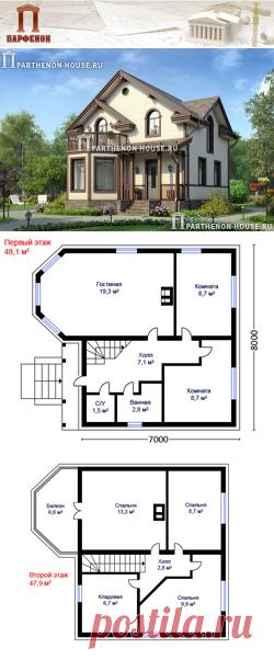 Проект деревянного дома с мансардным этажом из бруса ПА-89Б  Площадь общая: 89,17 кв.м. + 9,70 кв.м. (крыльцо, балкон) Площадь застройки: 67,93 кв.м. Площадь жилая: 68,37 кв.м. Строительный объем здания: 421,85 куб.м. Высота 1 этажа: 2,600 м. Высота 2 этажа: от 1,675 м. до 2,730 м. Высота дома в коньке: 7,400 м.   Технология и конструкция: строительство дома из бруса. Фундамент: монолитная ж/б лента. Стены: брус 200 мм.