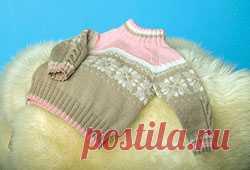 Описание вязания свитера, связанного регланом сверху, на ребенка (возраст 1-1,5 года, размер 80-86)