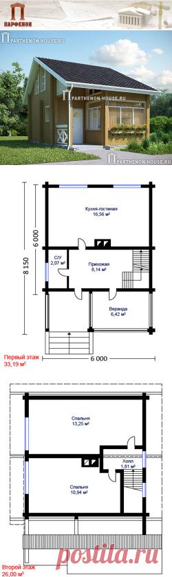 Проект небольшого деревянного дома из бруса НД 60-6  Площадь общая: 60,60 кв.м. Высота потолков 1 этажа: 3,000 м. Высота потолков 2 этажа: от 1,200 м. до 2,700 м.   Технология и конструкция: строительство дома из бруса. Фундамент: монолитная ж/б плита. Стены: из деревянного бруса сечением 150х150 мм. Междуэтажное перекрытие: по деревянным балкам. Кровля: покрытие - металлочерепица.   Габаритные размеры дома: 6,000 х 8,150 м.