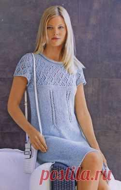 Платье с ажурной кокеткой. Вязание спицами для женщин. Узелок.ру