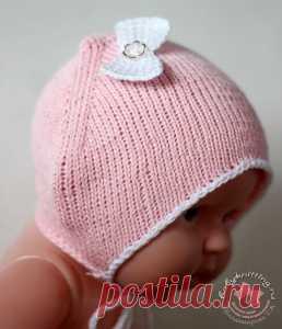 Чепчик для новорожденной малышки спицами. — Вяжем для самых маленьких! Блог Владимировой Татьяны