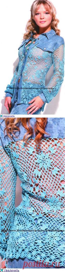 Комбинированная ажурная блузка.