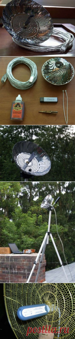 The wi-fi amplifier of a signal from … a metal sieve — the hands (+)