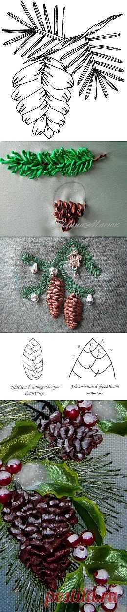 Как вышивать лентами ветки ели и шишки. МК.