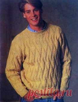 несложный узор мужской свитер спицами для начинающих вязание