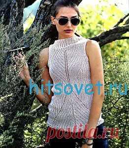 Knitting of a sleeveless jacket spokes | Hit council