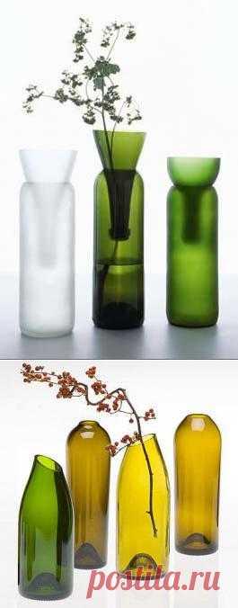 для дачи: вазы из бутылок