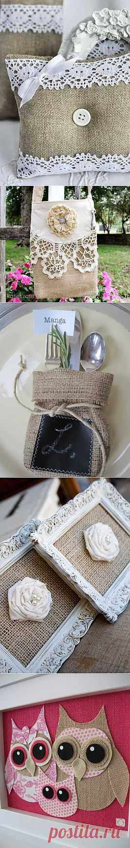 Идеи декора с мешковиной.