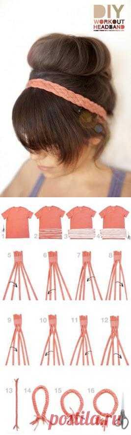 Повязка для волос из ненужной футболки