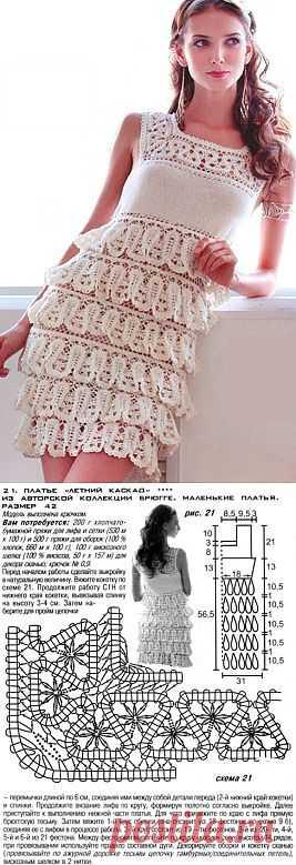 Платье с оборками крючком
