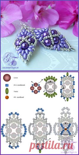 Лавандовые Серьги | biser.info - всё о бисере и бисерном творчестве