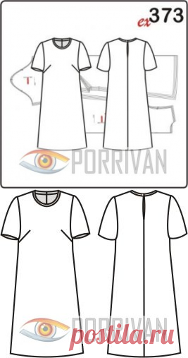 02b94488cb8 Выкройка простого платья с коротким рукавом - Porrivan