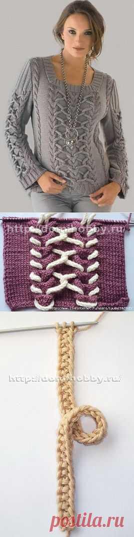 Декорирование узоров и изделий шнурами. Вязание шнуров спицами.