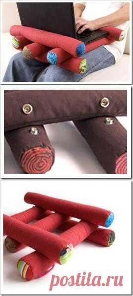 Мягкие валики из ткани, которые делают работу на ноутбуке комфортной и по-домашнему уютной.