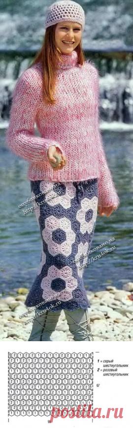 Теплая юбка вязание