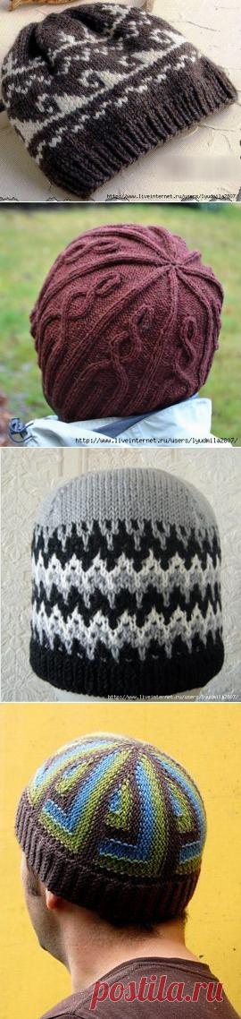 Мужские шапки спицами (подборка)