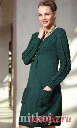 2f64a413847e4e3 Теплое вязаное платье спицами » Ниткой - вязаные вещи для вашего дома,  вязание крючком,
