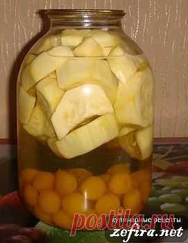 """Компот """"Сладкое лакомство"""" из кабачков с алычой. Кабачки в данном рецепте получаются со вкусом ананасов."""