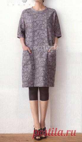 Выкройка-шаблон платья-туники с цельнокроеными рукавами и застежкой на спинке на все размеры   OK.RU