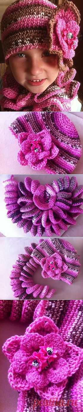 (+1) - Шарф и шапка для девочки на осень. | СВОИМИ РУКАМИ