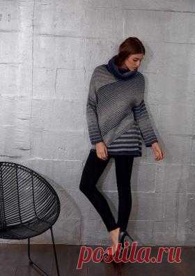 Пуловер с узором в полоску и высоким воротником Оригинальная модель женского пуловера с узором в полоску, связанного из смесовой пряжи на спицах 4.5 мм. Эта модель отлично подходит...
