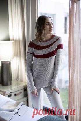 Пуловер Ветер Чудная модель женского свитера с круглой кокеткой, связанного из шерстяной пряжи на спицах 3.5 мм. Вязание начинается с воротника нитью...
