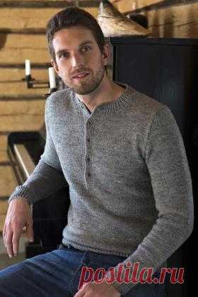 Мужской свитер с воротником стойка Стильный мужской свитер с застежкой поло, связанный на спицах 3.5 мм из шерсти. Все детали свитера вяжутся отдельно чулочной вязкой...