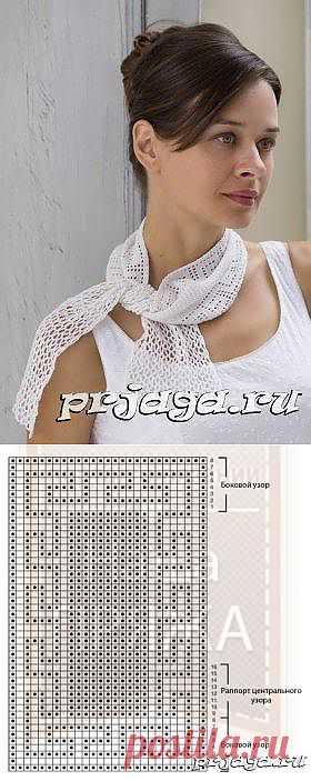 Филейное вязание крючком для начинающих – белый шарфик