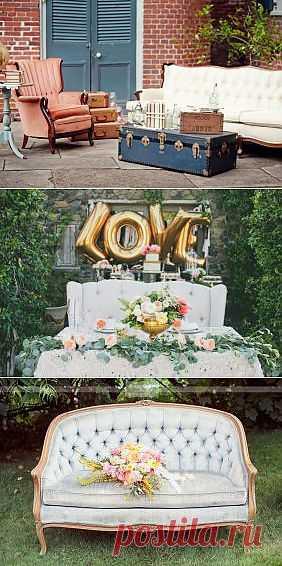 Винтажные диваны в свадебном декоре - WeddyWood