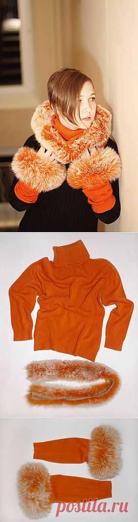 Капюшон с рукавами - Практично и очень стильно. Вот незадача - постирала шерстяной свитер в горячей воде. С кем не бывает! Теперь он стал таким маленьким, что даже дочери не подойдет. Но у меня есть меховые манжеты и опушка от капюшона аналогичного цвета, буду делать из них теплые аксессуары.