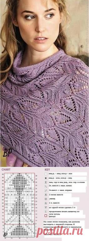 Красивый узор с листьями для палантина (Вязание спицами) | Журнал Вдохновение Рукодельницы