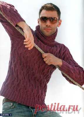 Мужской свитер с горлом: схема вязания спицами и описание Мужской свитер с горлом: схема вязания спицами и описаниеНа свитер 48-50 размера потребуется 400-450 граммов ниток следующего состава: 70% шерсть, 20% шелк, 10% полиамид, прямые спицы № 4-4,5, круговые спицы № 4, 40 см.Выкройка и схема вязания мужского свитера спицамиРезинка 2х2, основной узор