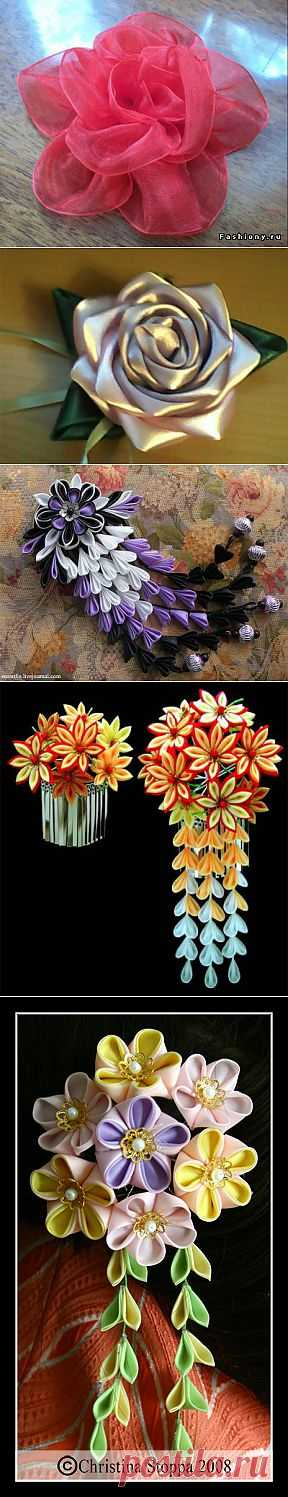 Разные цветы из лент - цветочки из ленточек - Babyblog.ru