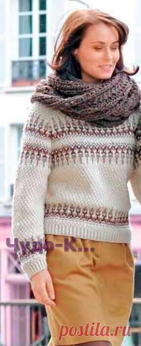 993 Пуловер с жаккардовым узором и шарф   ЧУДО-КЛУБОК.РУ