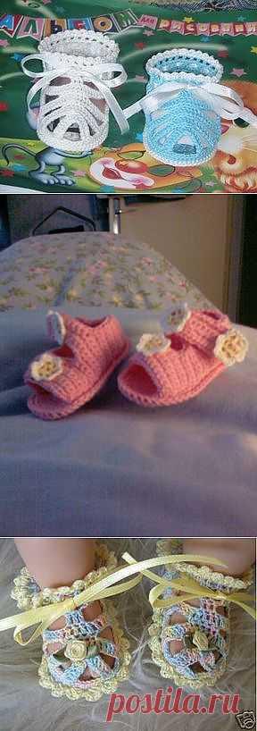 Вязаные сандалики с инструкцией.