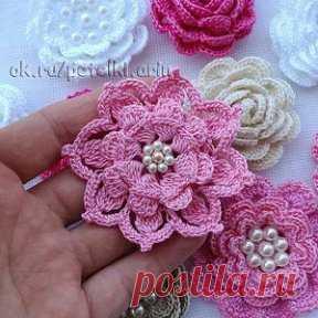 Florets a hook - it is so gentle and beautiful! \u000d\u000aIt is a lot of schemes!