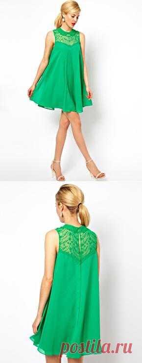 ASOS | Платье-разлетайка без рукавов с воротником и кружевной вставкой ASOS на ASOS