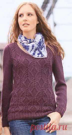 Пуловер с аранами.