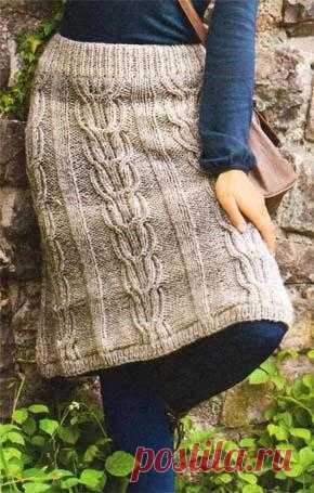 Вязание для женщин. Прямая вязаная юбка с аранами. Модель 127