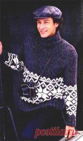 Вязаный мужской свитер с жаккардовой каймой. Модель для вязания 16