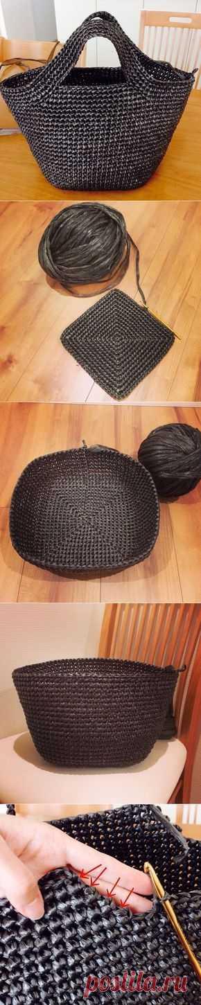 МК по вязанию пластиковой летней сумки.