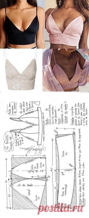 Top bralette para tecido plano | DIY - molde, corte e costura - Marlene Mukai