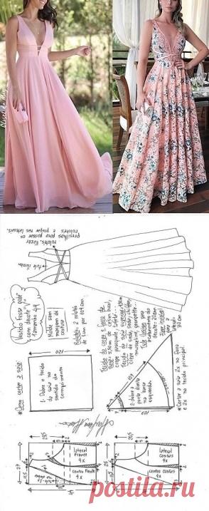 Vestido de festa godê com decote V   DIY - molde, corte e costura - Marlene Mukai