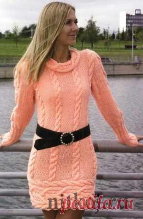 fc12132a00a06d8 Теплое платье спицами » Ниткой - вязаные вещи для вашего дома, вязание  крючком, вязание