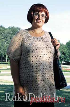 Удлененый летний пуловер для полных женщин.