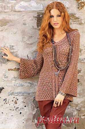 Меланжевый пуловер с расклёшенными рукавами