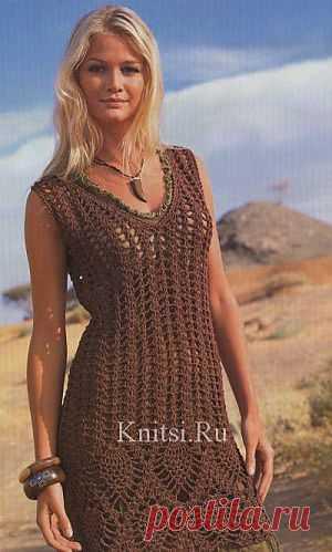 Коричневое ажурное платье. Вязание для женщин / Платья / Спицами