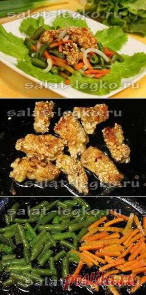Рецепт теплого салата со свининой в кунжутной панировке