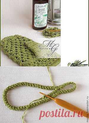 Варежка-мочалка из волокон крапивы - Ярмарка Мастеров - ручная работа, handmade