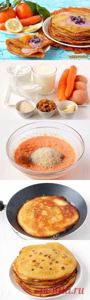 Los crepes apetitosos de zanahoria